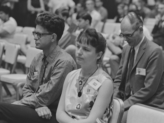 Poul Anderson, Karen Anderson and Frederik Pohl in the audience, Tricon, 1966. -- From: Jay Kay Klein photographs and papers on science fiction fandom