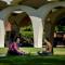 UCR students studying in front of the Tomas Rivera Library