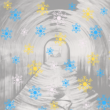 Snowflakes over archival photograph of a tunnel with light at the end