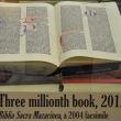 This 2004 facsimile of the Gutenberg Bible was donated by Dr. Edward Petko as the ceremonial 3 millionth volume in the UCR Library collection.