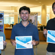 GIS Day 2017 Poster Contest winners: 3rd place, Brianna Chew (left); 2nd place, Peter Ibsen (right); and 1st place, Dion Kucera (center)