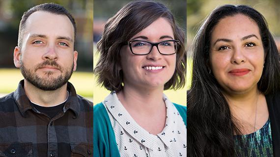 KUDOS recipients for fall quarter 2018: Dennis Vice, Jessica Geiser and Joanne Austin