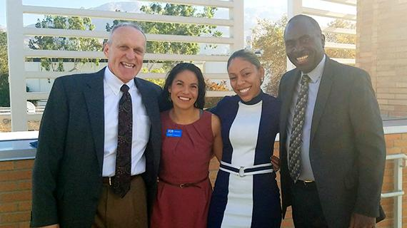Elisha Hankins and Leslie Settle pictured with Chancellor Kim Wilcox and Vice Chancellor Ron Coley