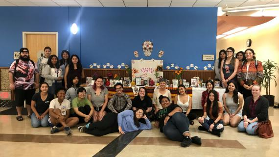 GSST 138 with their Day of the Dead altar in Rivera Library