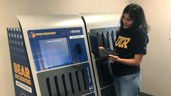 Borrow a laptop from the Laptops Anytime kiosks at the UCR Library