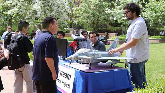 Skyteam members showcase their drone project at the 2017 Creat'R Faire, part of Maker Week at the UCR Library