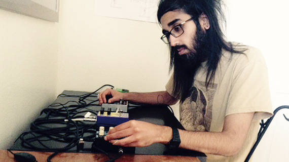 Library student employee Sean Matharoo working on a music project