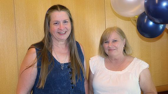 Two of the UCR Library's 2019 Retirees, Sharla Desens and Debbie Snow