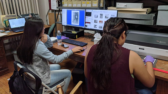 Sherman Indian High School students digitizing Sherman Indian Museum photographs