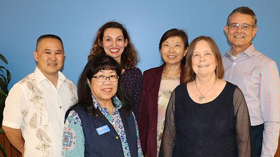 Teaching and Learning staff (L to R: Michael Yonezawa, Judy Lee, Dani Cook, Ying Shen, Christina Cicchetti, and David Rios. Not pictured: Robin Katz, Christopher Martone.)